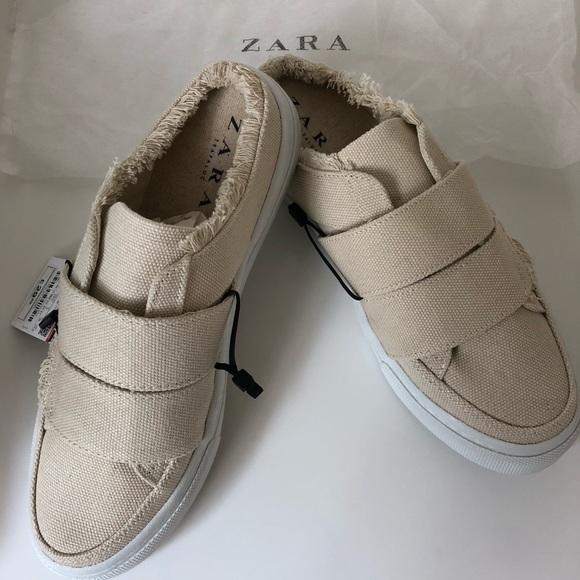 f1450afe3f4 NEW Beige canvas linen slide mule  Zara brand